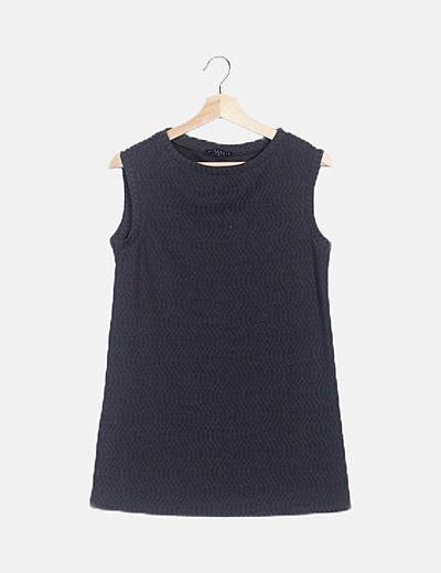 Camiseta tricot gris texturizada