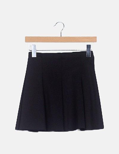 Falda fluida negra cintura elástica