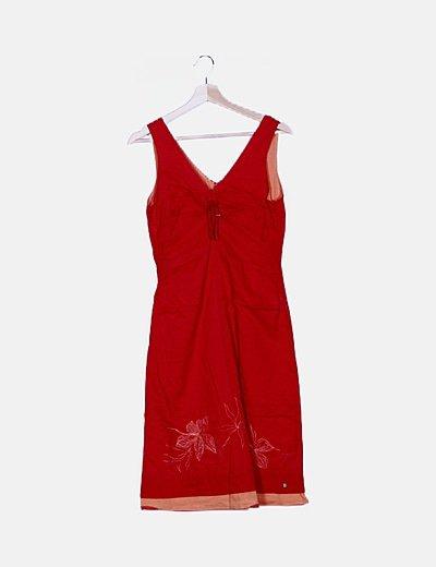 Vestido maxi rojo combinado