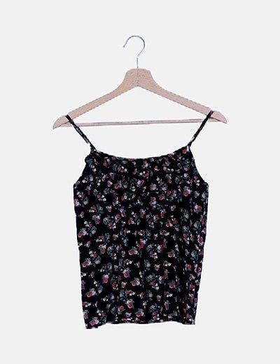Blusa negra floral