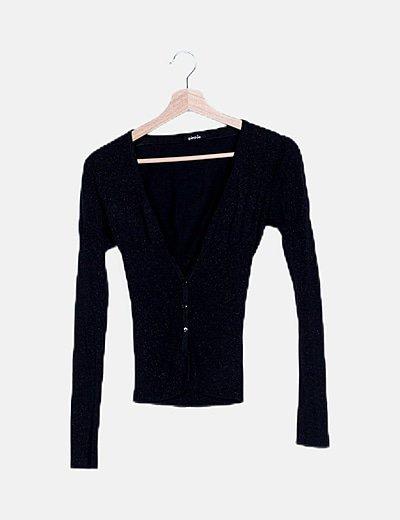 Chaqueta tricot negra glitter
