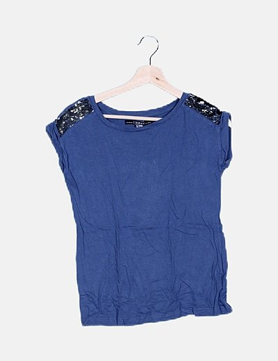 Camiseta azul detalle paillettes