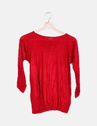 Camiseta punto roja detalle bolsillos
