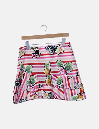 Falda de rayas estampado tropical