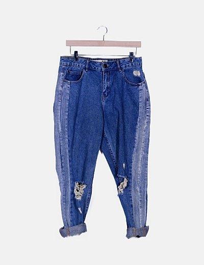 Jeans denim efecto desgastado ripped