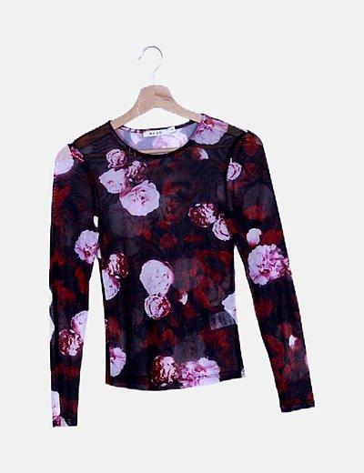 Camiseta semitransparente estampado floral