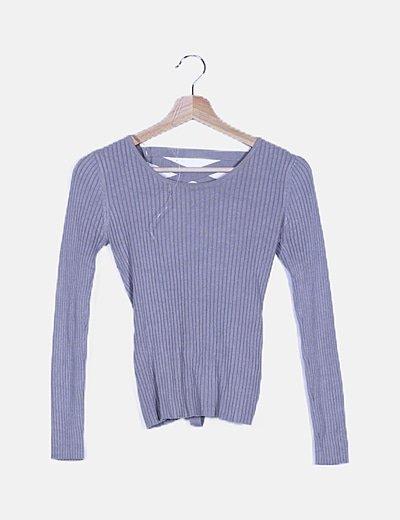 Suéter gris espalda lace up