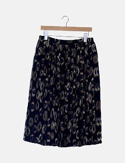 Falda midi estampada tablas