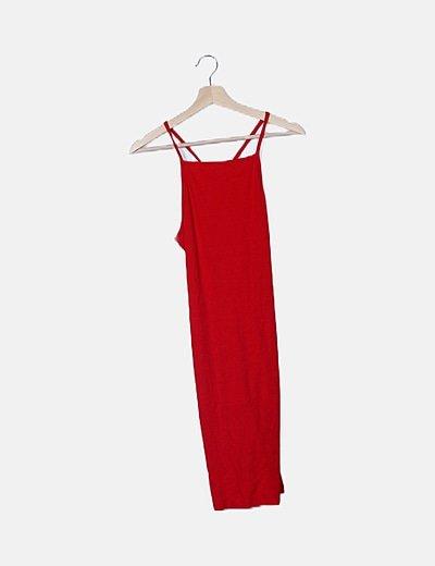 Vestido midi rojo canalé