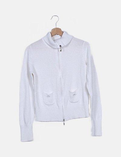 Jersey de punto blanco cremallera