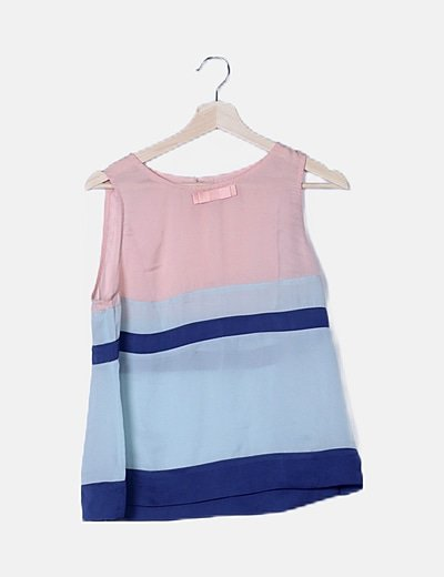 Blusa satén tricolor