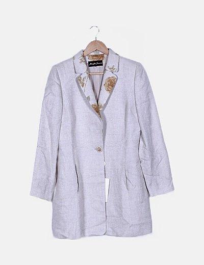 Conjunto de blazer y vestido beige floral