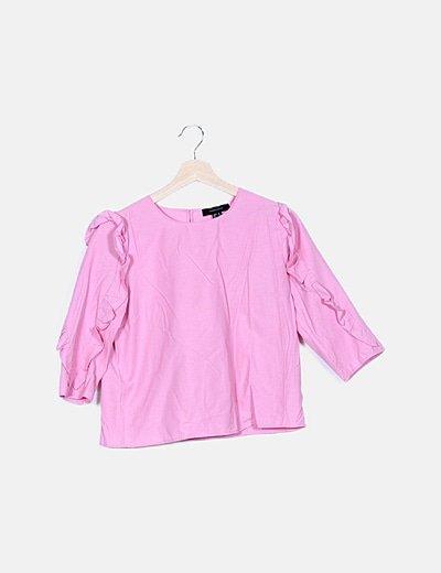 Blusa rosa volantes