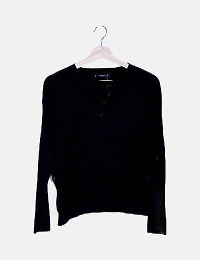 Jersey negro fino botones