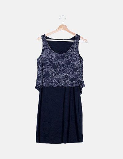 Vestido azul marino escote capa