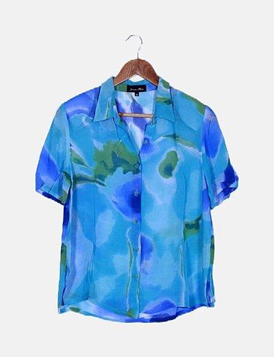 Conjunto de torera y vestido azul fluido