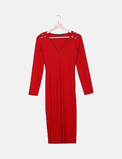 Vestido rojo calado detalle anillas