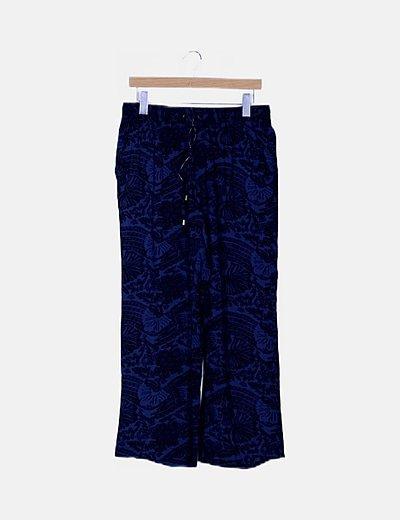 Pantalón azul fluido jacquard