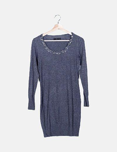 Vestido gris tricot con strass