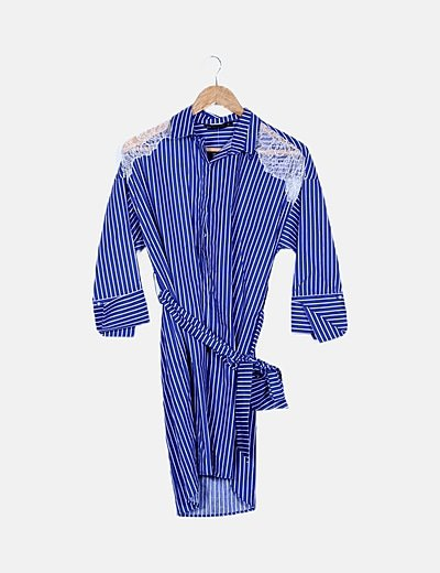 Vestido camisero azul de rayas