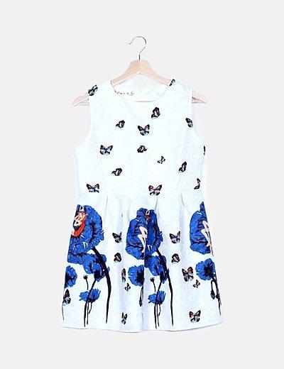 Vestido blanco texturizado butterflies
