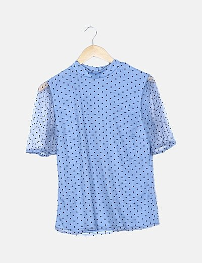 Blusa azul de topos