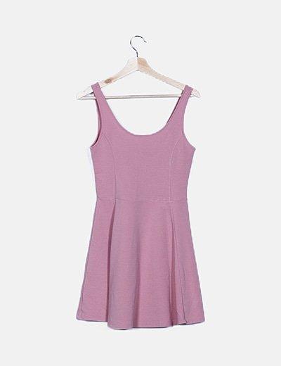 Vestido mini rosa texturizado