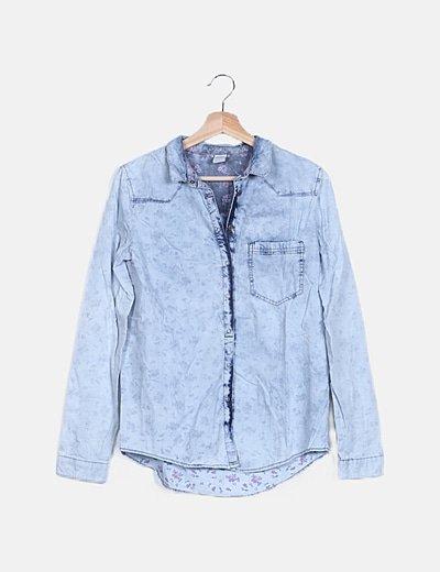 Camisa denim azul floral