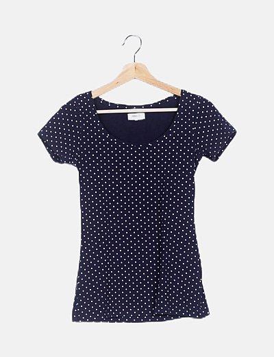 Camiseta azul marino polka dot