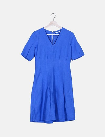 Vestido maxi azul cuello pico