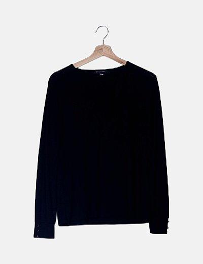 Suéter lace up negro con lazo