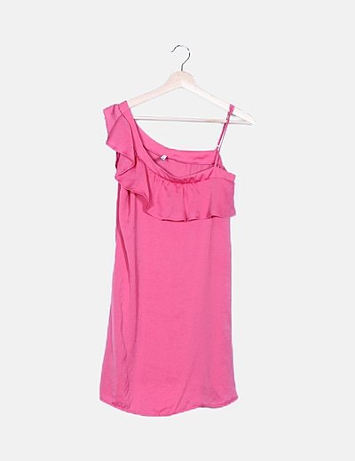 Vestido fluido rosa asimétrico