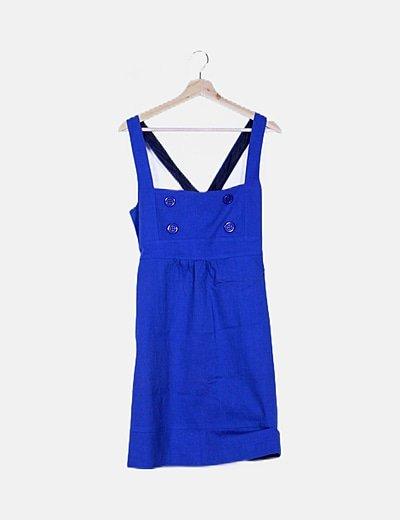 Vestido azul marino de botones