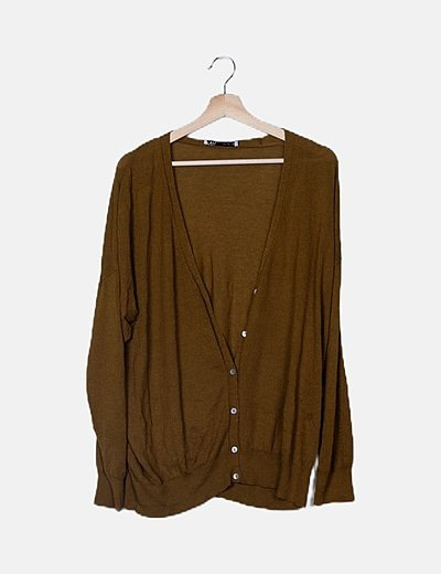 Chaqueta tricot mostaza