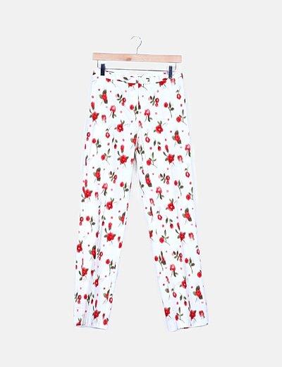 Pantalón chino beige print floral