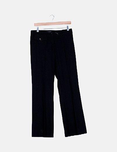 Pantalón chino negro corte recto