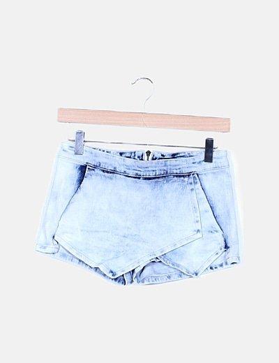Mini falda pantalón denim