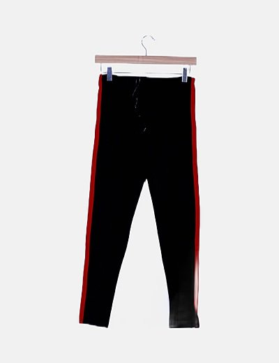 Leggings negro banda lateral