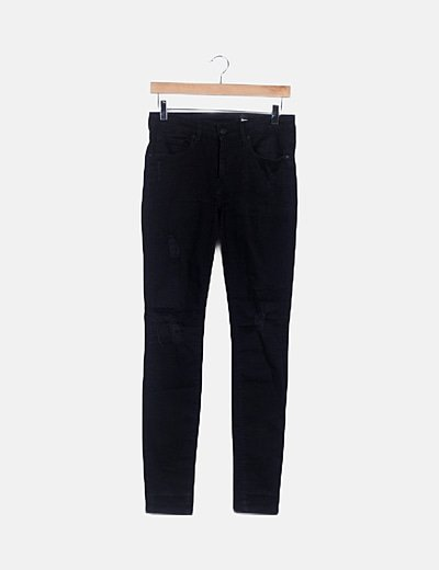 Pantalón denim negro ripped