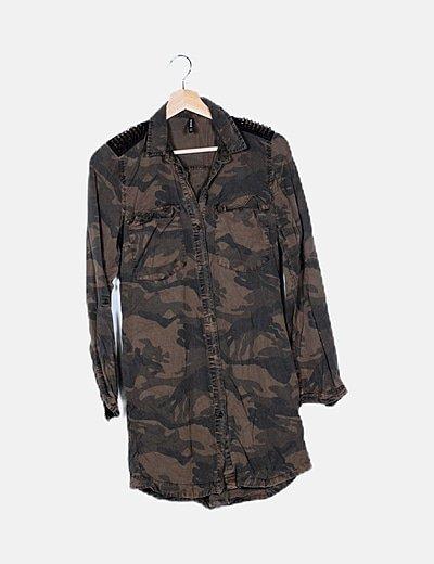 Vestido camisero estampado camuflaje