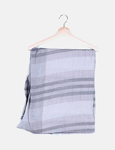 Foulard gris de rayas