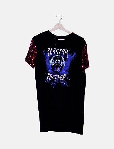 Vestido negro rock print