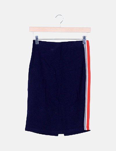Falda tubo azul marino banda lateral