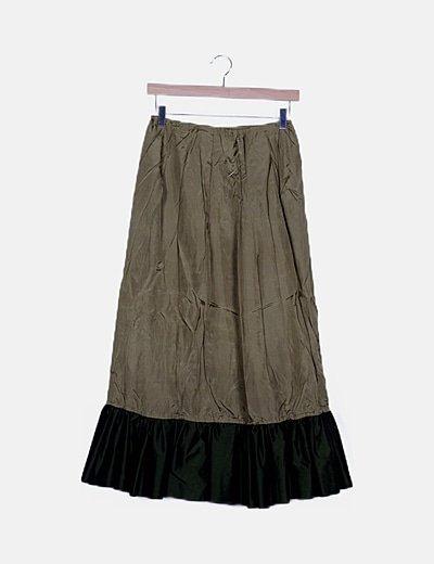 Falda satinada verde