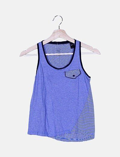 Camiseta rayas bicolor combinada