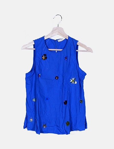 Blusa azul abalorios