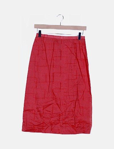 Falda coral bordada