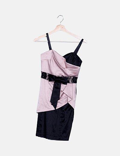 Vestido negro satén combinado