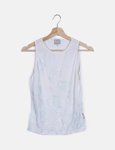 Camiseta blanca print conchas