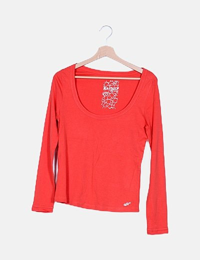 Camiseta naranja manga larga